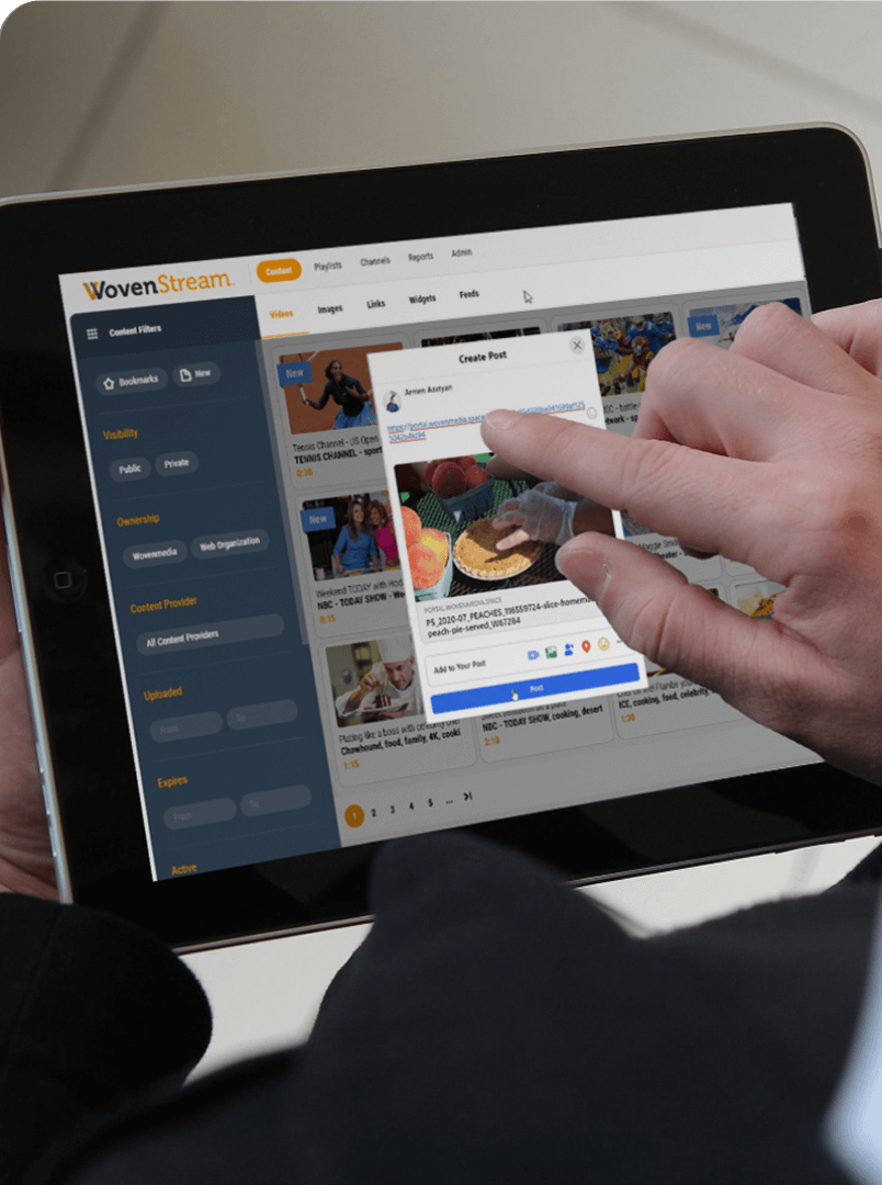 streaming video network on a touch screen