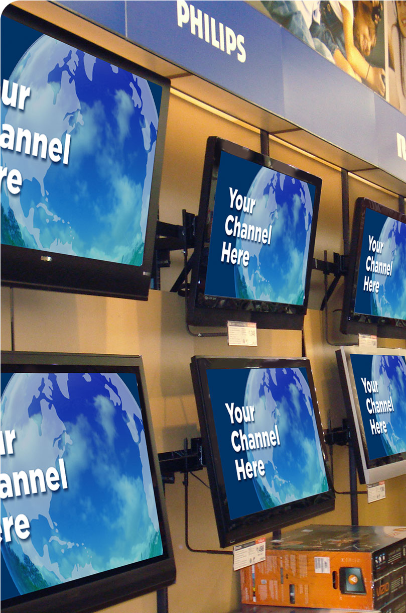 Digital Signage Content Management Software used for TV screens signage in a retail store