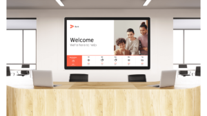 digital signage for banks. screen at lobby