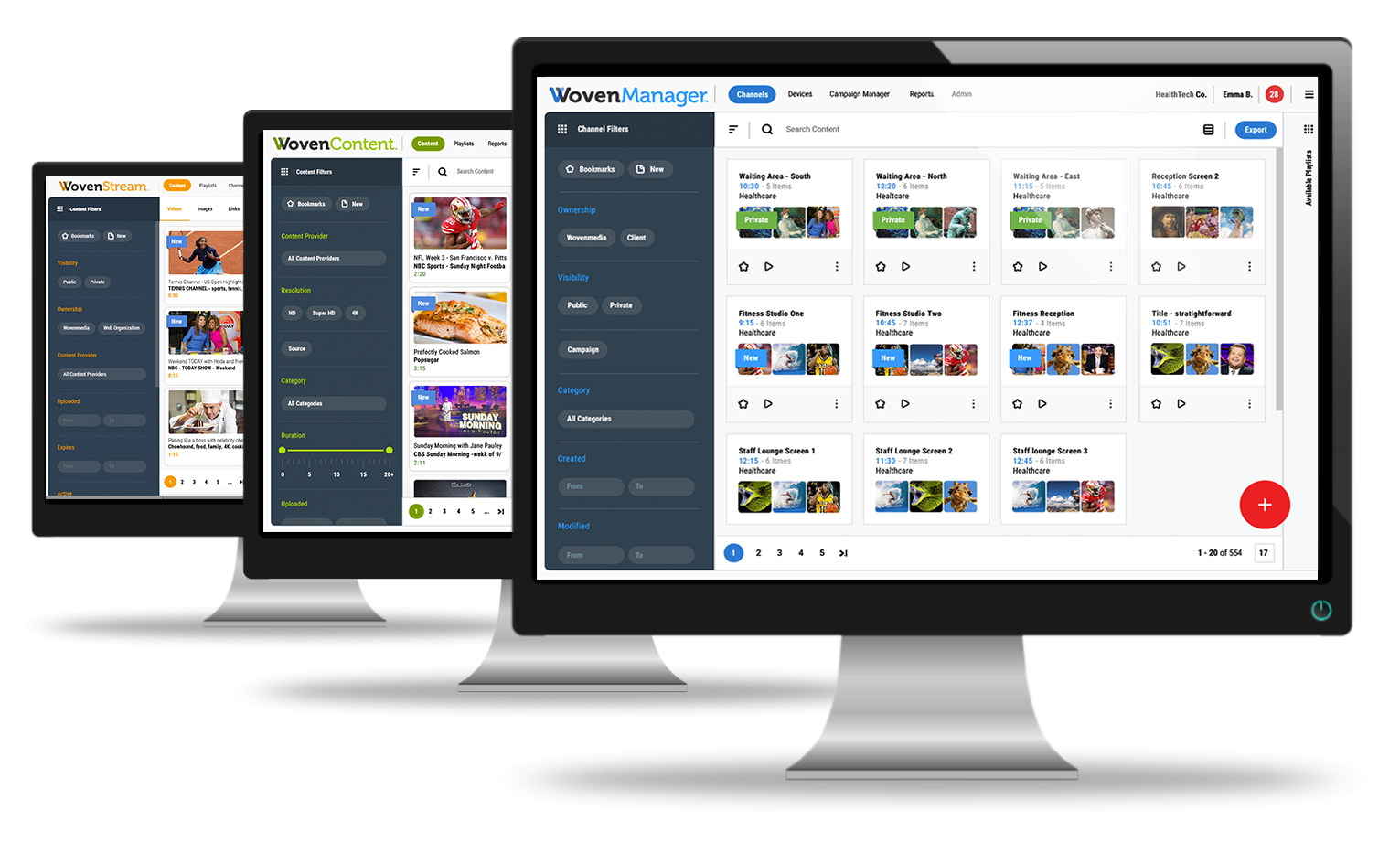 Wovenmanager, wovencontent and wovenstream platforms
