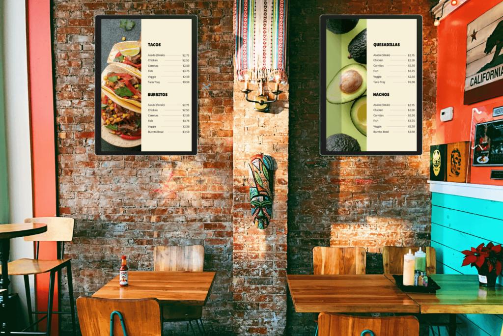 restaurant digital signage. menu boards digital signage used